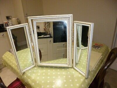 Vintage 1970s white and gold triple dressing table mirror