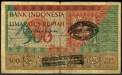 INDONESIA P-47 500 Rupiah Replacement Note with PRRI Overprints & Hand Signed