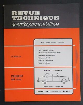 REVUE TECHNIQUE AUTOMOBILE RTA PEUGEOT 404 1967 n°255