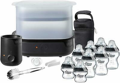 Tommee Tippee Electric Steam Sterilizer Baby Bottle Complete Feeding Set Black