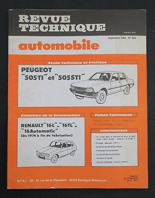 REVUE TECHNIQUE AUTOMOBILE RTA PEUGEOT 505 RENAULT 16 n°403