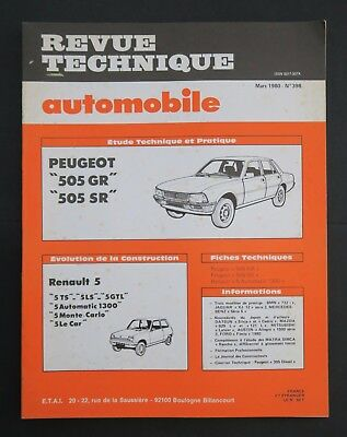 REVUE TECHNIQUE AUTOMOBILE RTA PEUGEOT 505 RENAULT R5 n°398