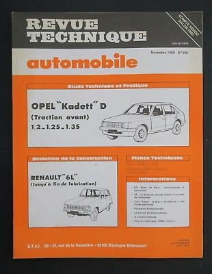 REVUE TECHNIQUE AUTOMOBILE RTA OPEL KADETT RENAULT 6 n°405