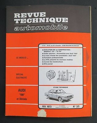 REVUE TECHNIQUE AUTOMOBILE RTA AUDI 100 RENAULT 12 n°321