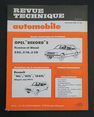 REVUE TECHNIQUE AUTOMOBILE RTA APEL REKORD RENAULT 14 n°402
