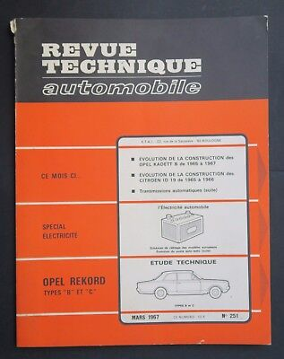 REVUE TECHNIQUE AUTOMOBILE RTA OPEL REKORD KADETT n°251