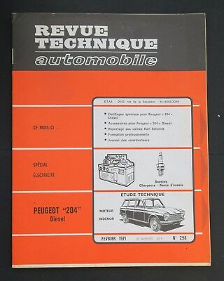 REVUE TECHNIQUE AUTOMOBILE RTA PEUGEOT 204 DIESEL n°298
