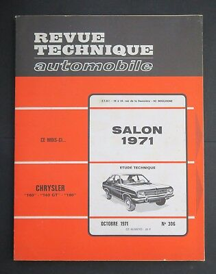 REVUE TECHNIQUE AUTOMOBILE RTA SPECAIL SALON 1971 CHRYLER 160 180 n°306