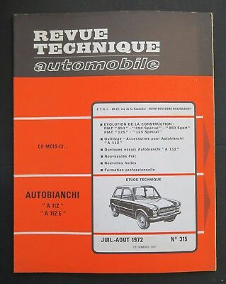 REVUE TECHNIQUE AUTOMOBILE RTA AUTOBIANCHI A 112 FIAT 850 125 n°315