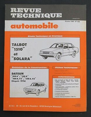 REVUE TECHNIQUE AUTOMOBILE RTA TALBOT SOLARA DATSUN 100 120 n°404