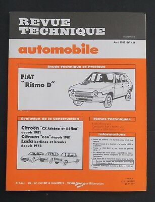 REVUE TECHNIQUE AUTOMOBILE RTA FIAT RITMO CITROEN CX ATHENA n°421