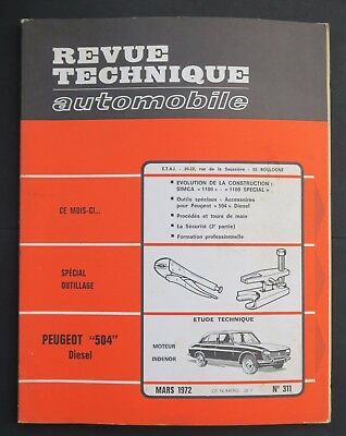 REVUE TECHNIQUE AUTOMOBILE RTA PEUGEOT 504 SIMCA 1100 n°311