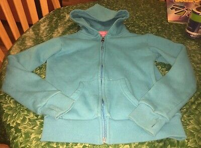 Butter Super Soft Girls Size 10/12 Adorable Blue Hooded Sweatshirt Foody