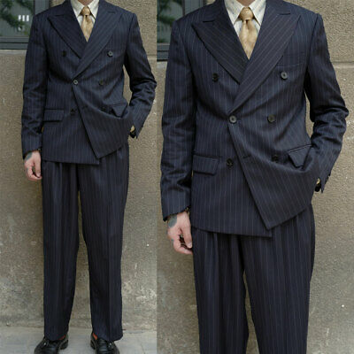 Navy Pinstripe Suits Mens Double-breasted Business Peak Lapel Tuxedos Pleat Pant
