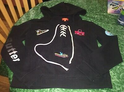 Butter Super Soft Girls Medium 10/12 Black Hooded Sweatshirt With Laces
