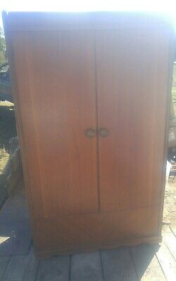Vintage Cedar Lined Waterfall Style Wardrobe Clothes Holder Bedroom Furniture