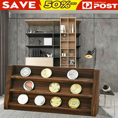 Wooden Coin Capsule Holder Wooden Container Storage Box Display medal Case Gift