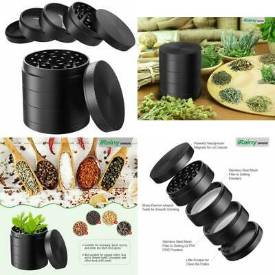 2.1 Inch Extra Large 5 Piece Tobacco Grinder Sharp Metal Spice/Herb Crusher NEW-