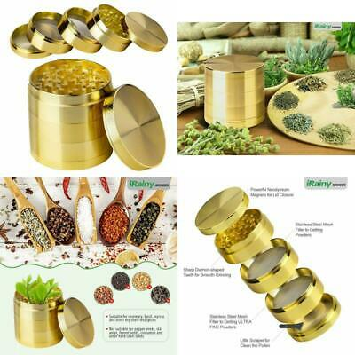 2.1 Inch Extra Large 5 Piece Tobacco Grinder Sharp Gold Metal Spice/Herb Crusher