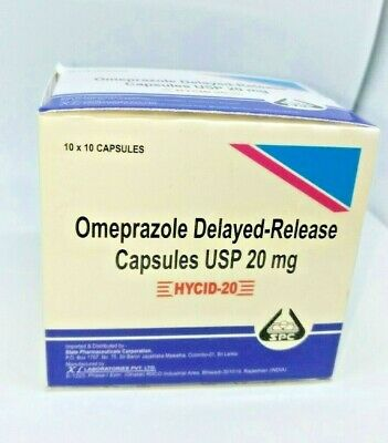 Omeprazole 20 mg OTC 100 Capsules Acid Re flux Heart Burn Reducer Nexium Similar