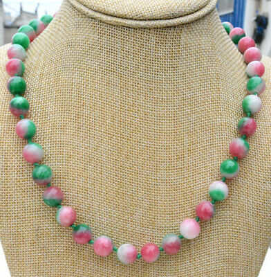 CHINESE Green Yellow Lavender Red JADE Bead Beads Necklace 19 inches 242452