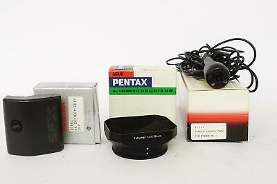 genuine Asahi Pentax accessories - all boxed: grip, hood, remote