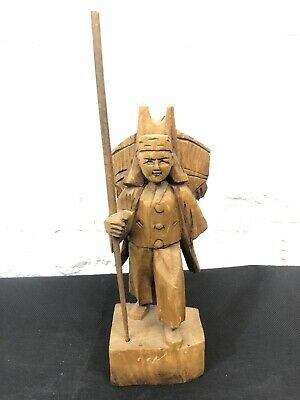 Mid Century Modern Hand Carved Wooden Asian Man Figure Statue Figurine 8.1/2""