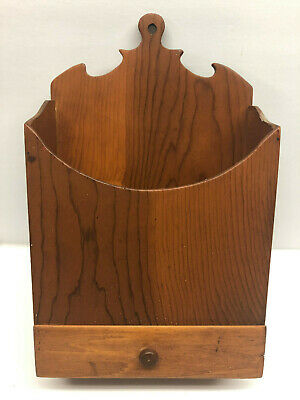 "12"" Old Primitive Wood Wall Hanging Folk Art Candle or Pantry Box with Drawer"