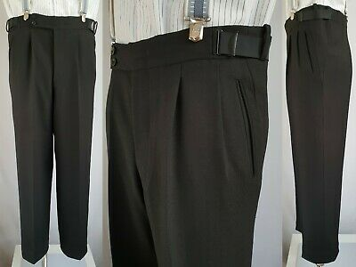 Vtg 1950s Pleated Black Hollywood Waist button Fly Wool Trousers W36 L29 LB08