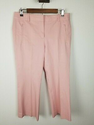 J CREW Pants 8 Teddie Wide Leg pink Kick Flare Crop Cotton Stretch Zipper JCrew