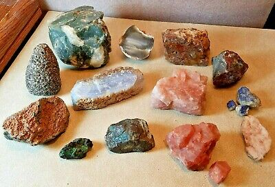 Lot of 13 Different Rock Specimens Geology Minerals Quartz Sparkly Accents
