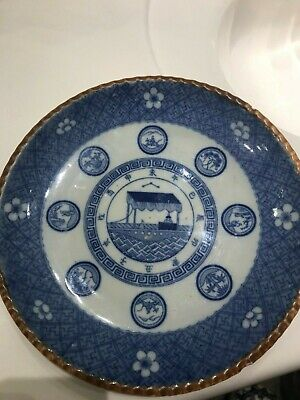 Antique Chinese Export Blue Painted Dish Signed