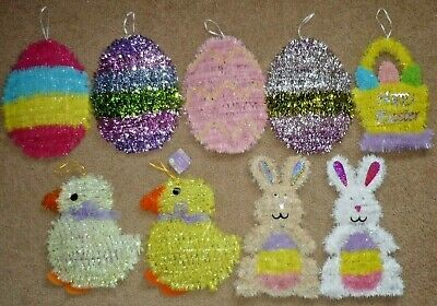 Lot of 9 Tinsel Hanging Easter Decorations, Bunny Rabbit, Basket, Eggs & Chicks