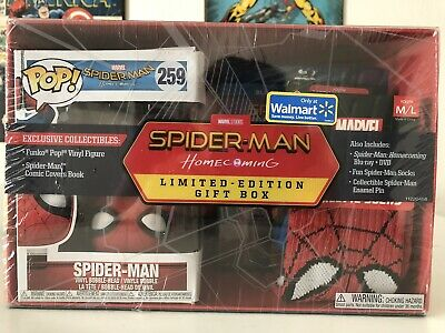 Spiderman Homecoming Limited Edition Gift Box w/ Funko Pop #259 Spider-man DVD++