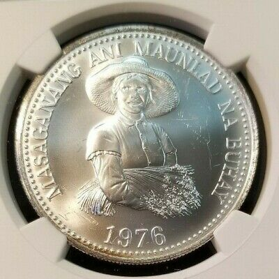 1976 Philippines Silver 25 Piso S25P Fao Ngc Ms 64 Beautiful Silky Surfaces