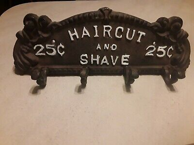 Heavy Metal Sign Wall Hanger Haircut And Shave 25 Cents with coat hooks. FREE sp