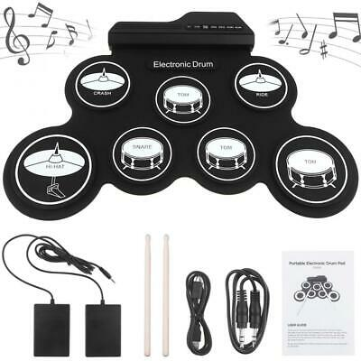 Electronic Digital USB 7 Pads Roll up Set Silicone Electric Drum Kit with Pedal