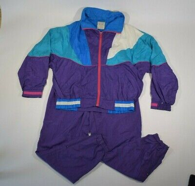Vintage Women's Colorblock Nylon Windbreaker Track Suit Sz Large