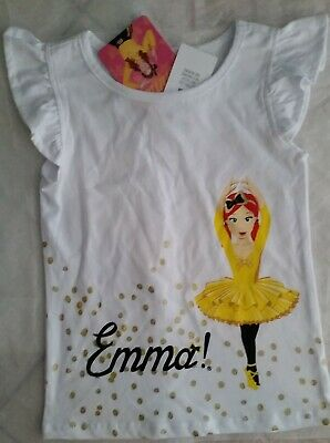 THE WIGGLES EMMA WIGGLE Licensed Girl tee t shirt top white cotton NEW sizes 1-5