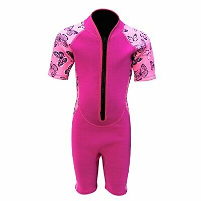Kids Wetsuit Shorty Thermal Swimsuit, 3mm 2mm 10 2mm Girl's Shorty Wetsuit Pink