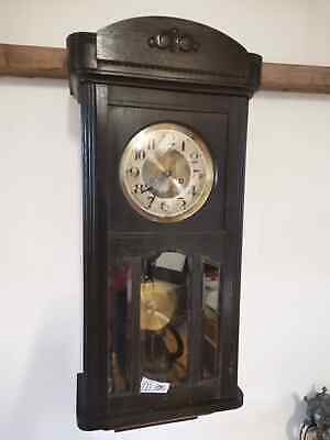 Vintage English Wooden Wall Clock Pendulum Antique