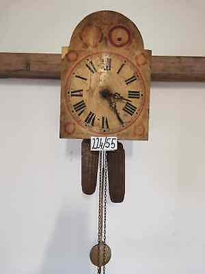 Antique Wooden Wall Clock Pendulum inactive