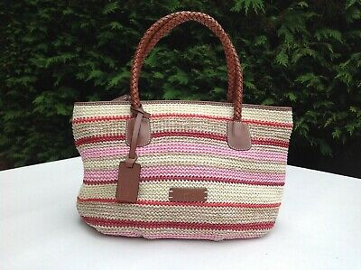 TULA Raffia Straw Weave and Leather Striped Handbag - Summer Colours - VGC