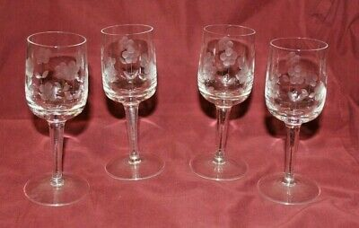 Long Stem Cordial Aperitif Etched With Flowers Glasses Set of Four