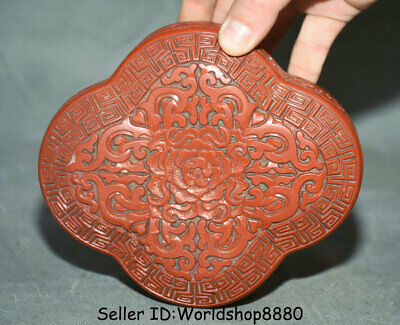 """5.8"""" Qianlong Marked Old China Qing Red Lacquerware Dynasty Flower Jewelry box"""