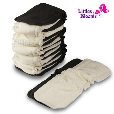 Baby Bamboo Reusable Cloth Diaper Inserts Charcoal Washable Nappy Liners 5 Layer