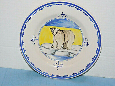 Italian Pottery Bowl Italy polar bear on ice soup or display holes for hanging