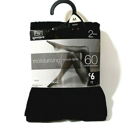 2 Pairs 60 Denier Tights Soft Moisturising Opaque  With Lycra Black 12 - 14