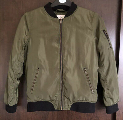 Primark Olive Green Fleece Lined Bomber Jacket Age 12-13 Years