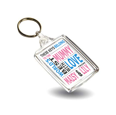 WORLD'S BEST - Personalised Message Photo Keyring - WB1 - Double Sided